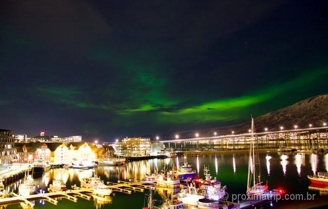 Aurora Boreal em Tromso, vista a partir do hotel