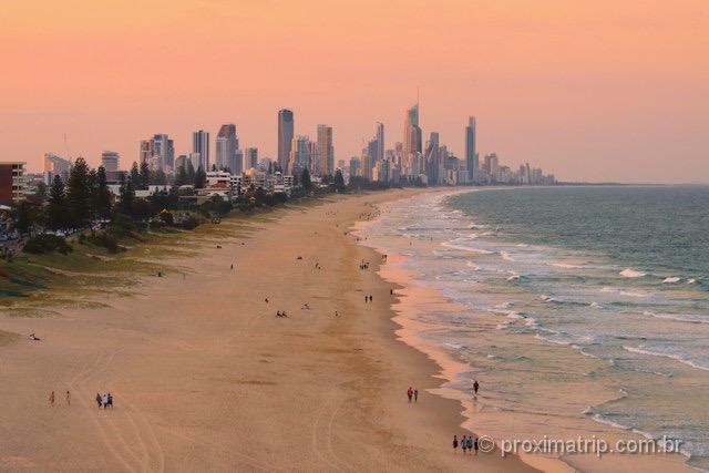 pôr do sol em Gold Coast