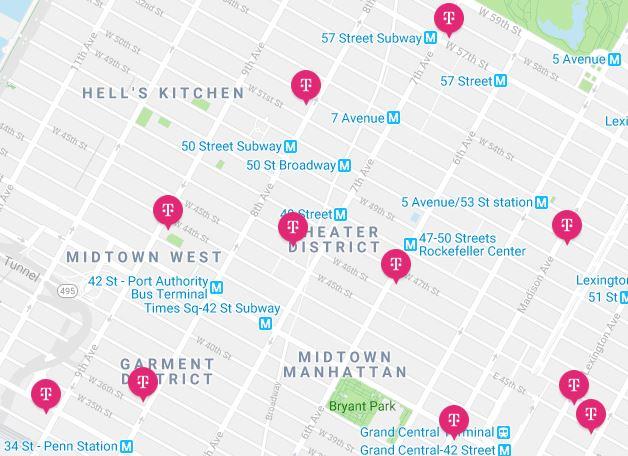 Lojas de chip de celular da T-Mobile em Nova York
